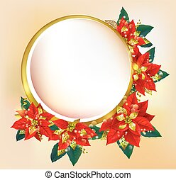 Round banner with Christmas poinsettia