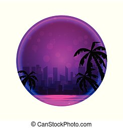 Round banner with Evening illustration of a city beach with palm trees and neon circles.