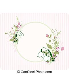 round banner with floral ornament and grunge elements
