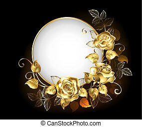 Round banner with gold roses