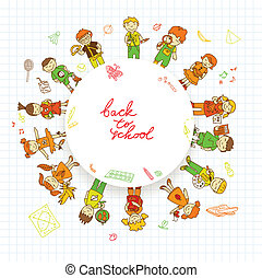 Round banner with kids - Decorative kids back to school...
