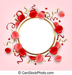 Round banner with rose petal