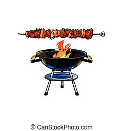 Round barbecue, BBQ charcoal grill, burning flame - Round ...