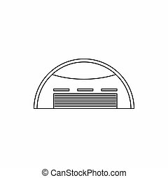 Round barn icon, outline style