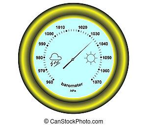 round barometer - round golden barometer on a white...