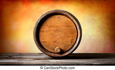 Round barrel - Round wooden barrel on a colored background