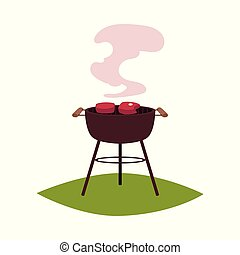 Round BBQ, barbecue, charcoal grill with steaks - Round BBQ...