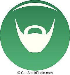 Round beard icon vector green