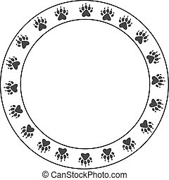 Round bearpaw print border