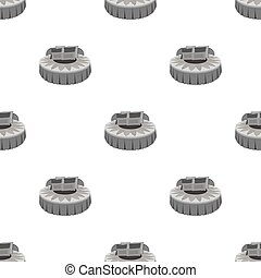 Round bed. Beds single icon in monochrome style vector symbol stock illustration web.
