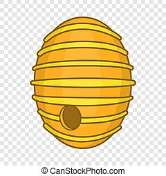 Round beehive icon, cartoon style