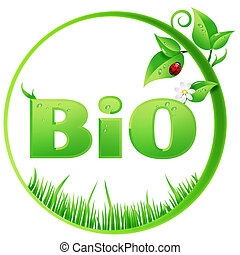 Round Bio sign - Bio sign ecological design isolated