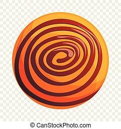 Round biscuit icon, cartoon style
