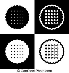 Round biscuit sign. Vector. Black and white icons and line icon on chess board.