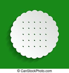 Round biscuit sign. Vector. Paper whitish icon with soft shadow on green background.