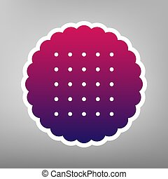Round biscuit sign. Vector. Purple gradient icon on white paper at gray background.