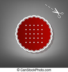 Round biscuit sign. Vector. Red icon with for applique from paper with shadow on gray background with scissors.