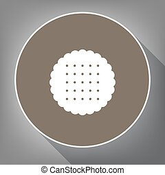 Round biscuit sign. Vector. White icon on brown circle with white contour and long shadow at gray background. Like top view on postament.