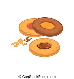 Round biscuits with caramel and chocolate inside isolated on white.