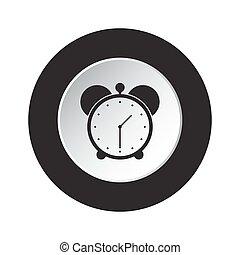 round black and white button - alarm clock icon