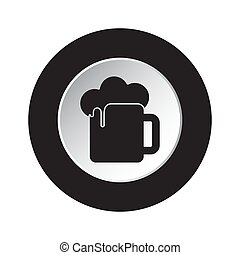 round black and white button - beer with foam icon