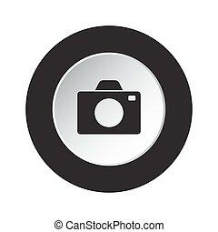 round black and white button - camera icon