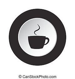 round black and white button - cup with smoke icon