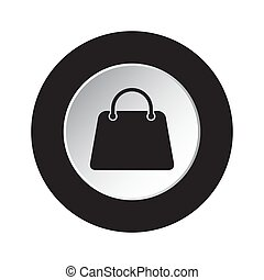 round black and white button - handbag, bag icon