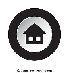 round black and white button icon - home