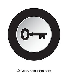 round black and white button icon with key
