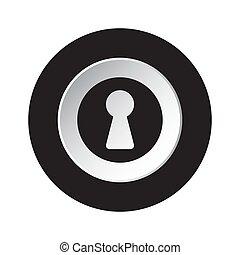 round black and white button - keyhole icon