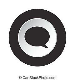 round black and white button - speech bubble icon