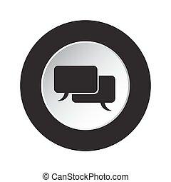round black and white button, speech bubbles icon