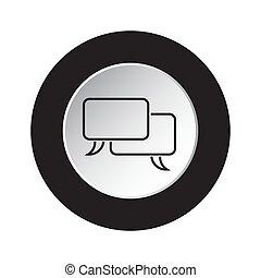round black and white button - speech bubbles icon