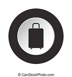 round black and white button - suitcase icon