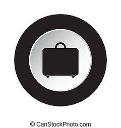 round black and white button - suitcase icon