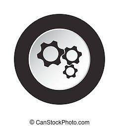 round black and white button - three cogwheel icon