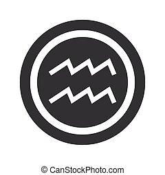 Round black Aquarius sign