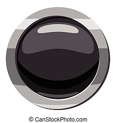 Round black button icon, cartoon style
