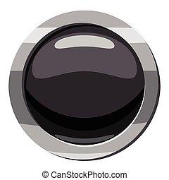 Round black button icon, cartoon style