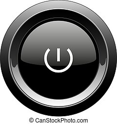 Round black button with power icon