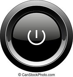 Round black button with power icon