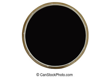 Round black canvas in wooden frame. Isolated object on white background. A place for a label.