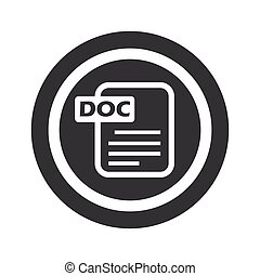 Round black DOC file sign - Document page with text DOC in...