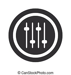 Round black faders sign - Image of four console faders in...