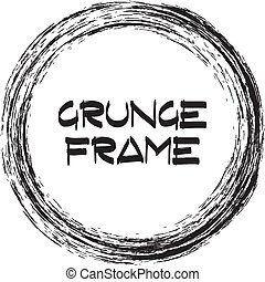 Round black frame with grunge. Vector illustration