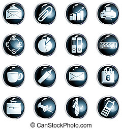 Collection of office themed buttons with metallic rim, Graphics are grouped and in several layers for easy editing. The file can be scaled to any size.