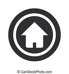 Round black home sign - Image of house in circle, on black ...