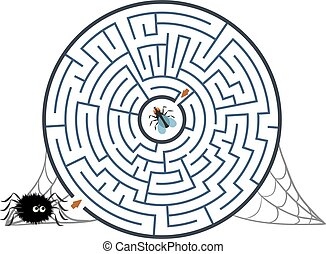 Round black labyrinth with spider, fly and web on white background. Children s maze. Game for kids. Children s puzzle for halloween. Help the spider find the way to the fly.