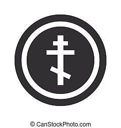 Round black orthodox cross sign